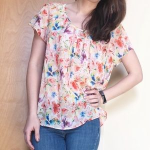 Skies are blue sheer floral short sleeve blouse XS